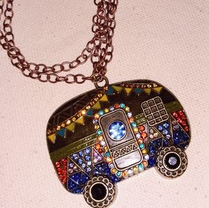 Awesome happy hippie camper necklace